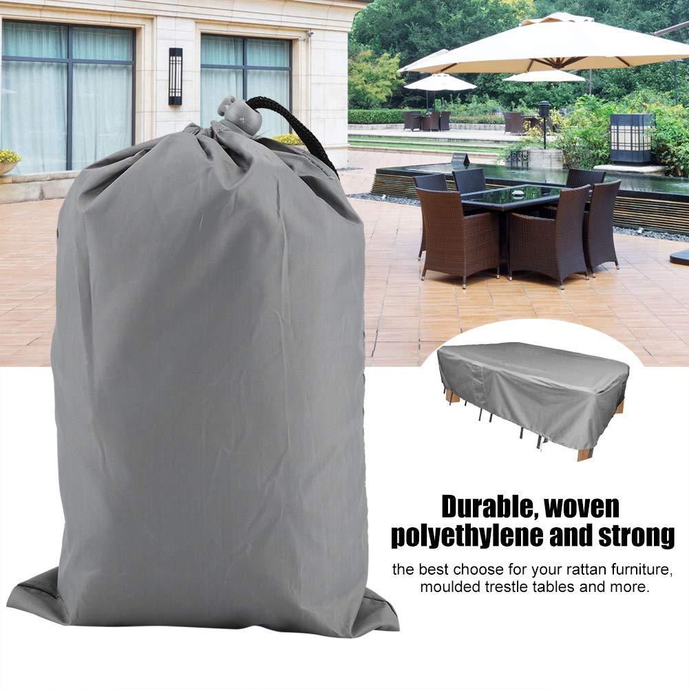 Grey Patio Set Coperture per mobili Grande Rettangolare Impermeabile Antipolvere Anti UV 190D Tessuto Poliestere da Giardino Sedia da Tavolo Copertura del Divano Tempo dAcqua rip Resistente