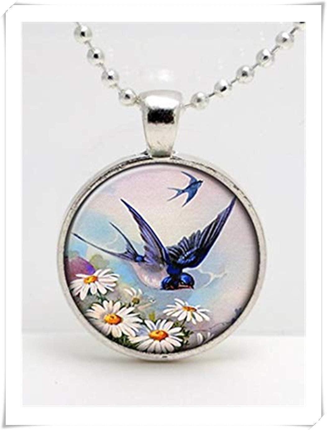 fabriqu/é /à la main, hirondelle bleue Flying vintage Impression Art Pendentif en verre ou porte-cl/és , d/ôme en verre Bijoux