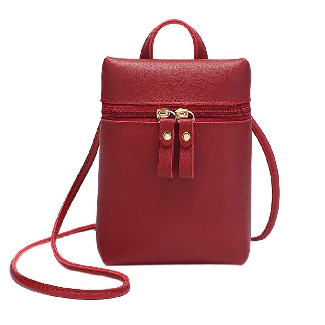 Alixyz Women Candy Color One Shoulder Messenger Bag Mobile Phone Bag Purse Small Backpack (Black)
