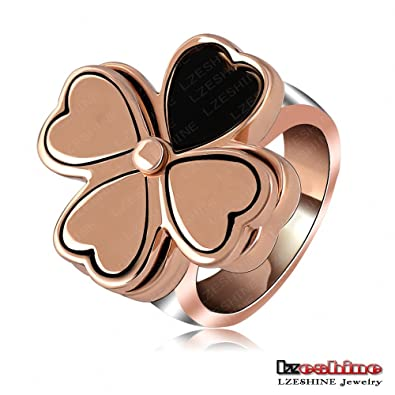 flower pure four open bravekiss wide leaf clover item ring sterling big rings band adjustable women silver