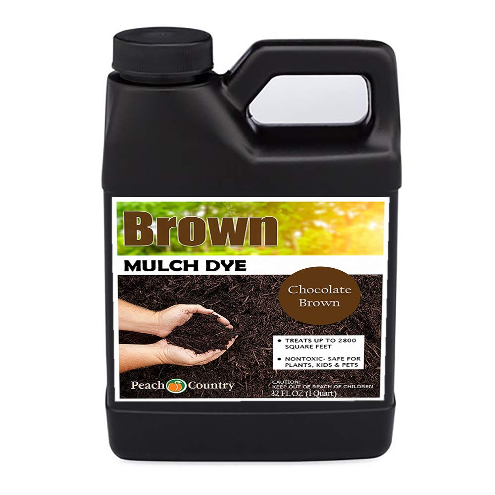 Peach Country Premium Chocolate Brown Mulch Color Concentrate - 2,800 Sq. Ft. - Pure Chocolate Brown Mulch Dye Spray (1 Quart, Brown) by Peach Country