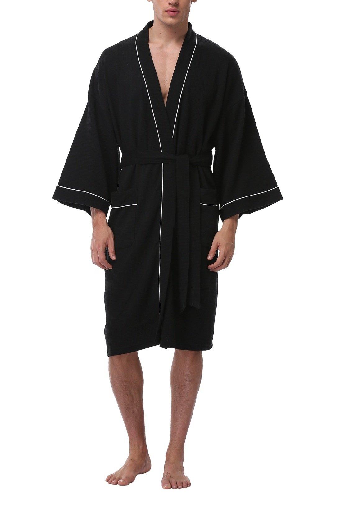 Men's Lightweight Cotton Bathrobe,Black,XL