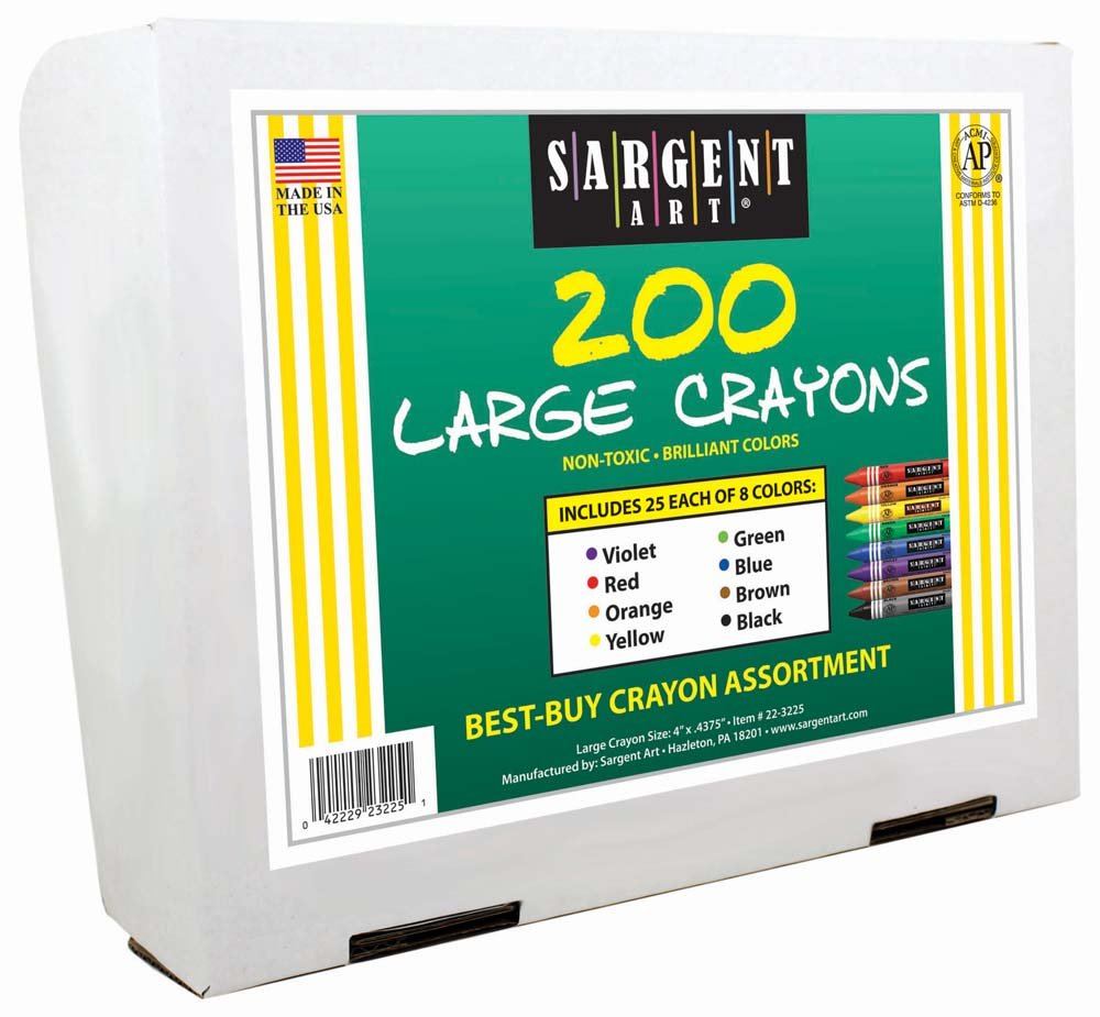 Sargent Art 200-count crayon Best-buy Assortiment (grande taille, 8couleurs, 25unités) 8couleurs 25unités) 22-3225