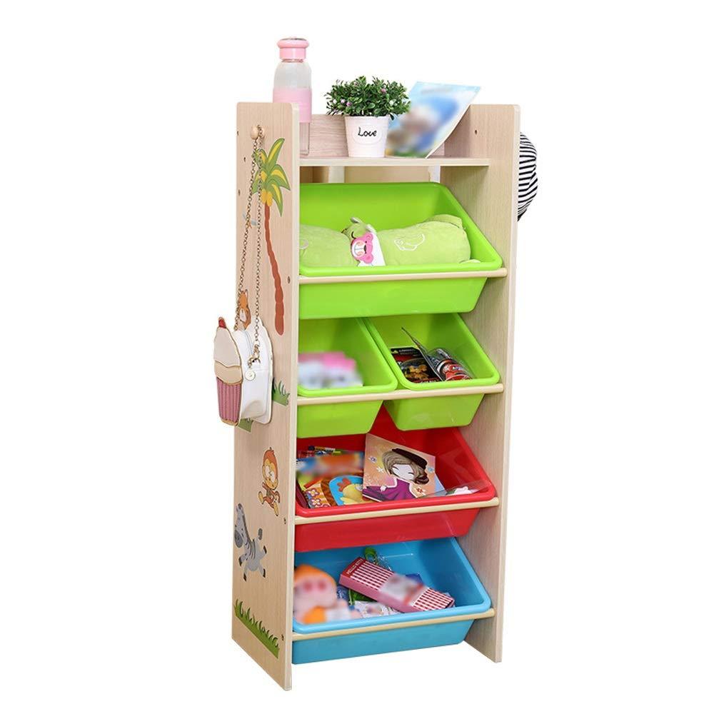 JAJXRCK Kids Toy Storage Organizer Toy Organiser for Children with 5 Removable Bins Wooden Storage Unit Rack for Playroom, Kid's Room, Nursery Storage Box Shelf Drawer