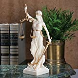 Design Toscano Themis Blind Lady of Justice Statue Lawyer Gift, 13 Inch, Bonded Marble Polyresin, White