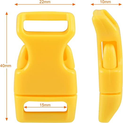 Yellow Adjustable Colorful Plastic Release Buckle Color Plastic Buckles 1 Inch,8 Colors 40Pack DIY Craft Webbing Contoured Side Quick Release Buckle for Backpack Aiyufei