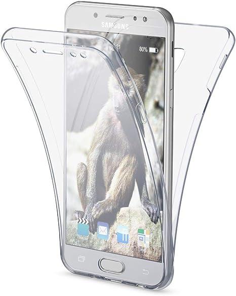 NALIA Funda 360 Grados Compatible con Samsung Galaxy J5 2017 (EU), Delantera Trasera Protectora Movil Silicona Carcasa Ultra-Fina Gel Transparente Doble Cubierta Bumper Cover Case, Color:Transparente: Amazon.es: Electrónica