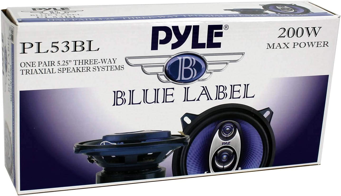 16 Pack Pyle PL53BL 5.25 200W 3-Way Car Audio Triaxial Speakers Stereo Blue