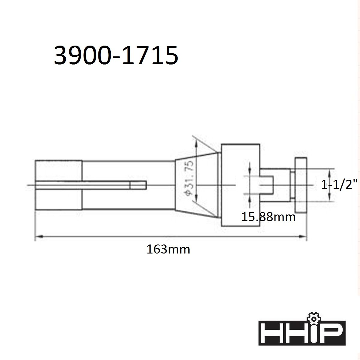 HHIP 1-1/2 INCH R8 SHELL END MILL HOLDER (3900-1715)