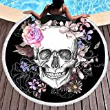 Sleepwish Skull Round Beach Towel Blanket Skeleton Flower Roundie Beach Blanket Line Art Roundie Beach Blanket (Pink Rose, 60'')