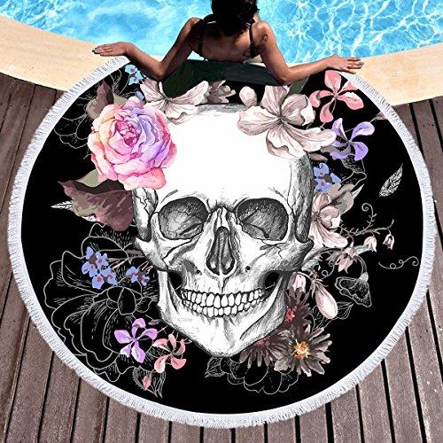 Sleepwish Skull Round Beach Towel Blanket Skeleton Flower Roundie Beach Blanket Line Art Roundie Beach Blanket (Pink Rose, 60'') by Sleepwish