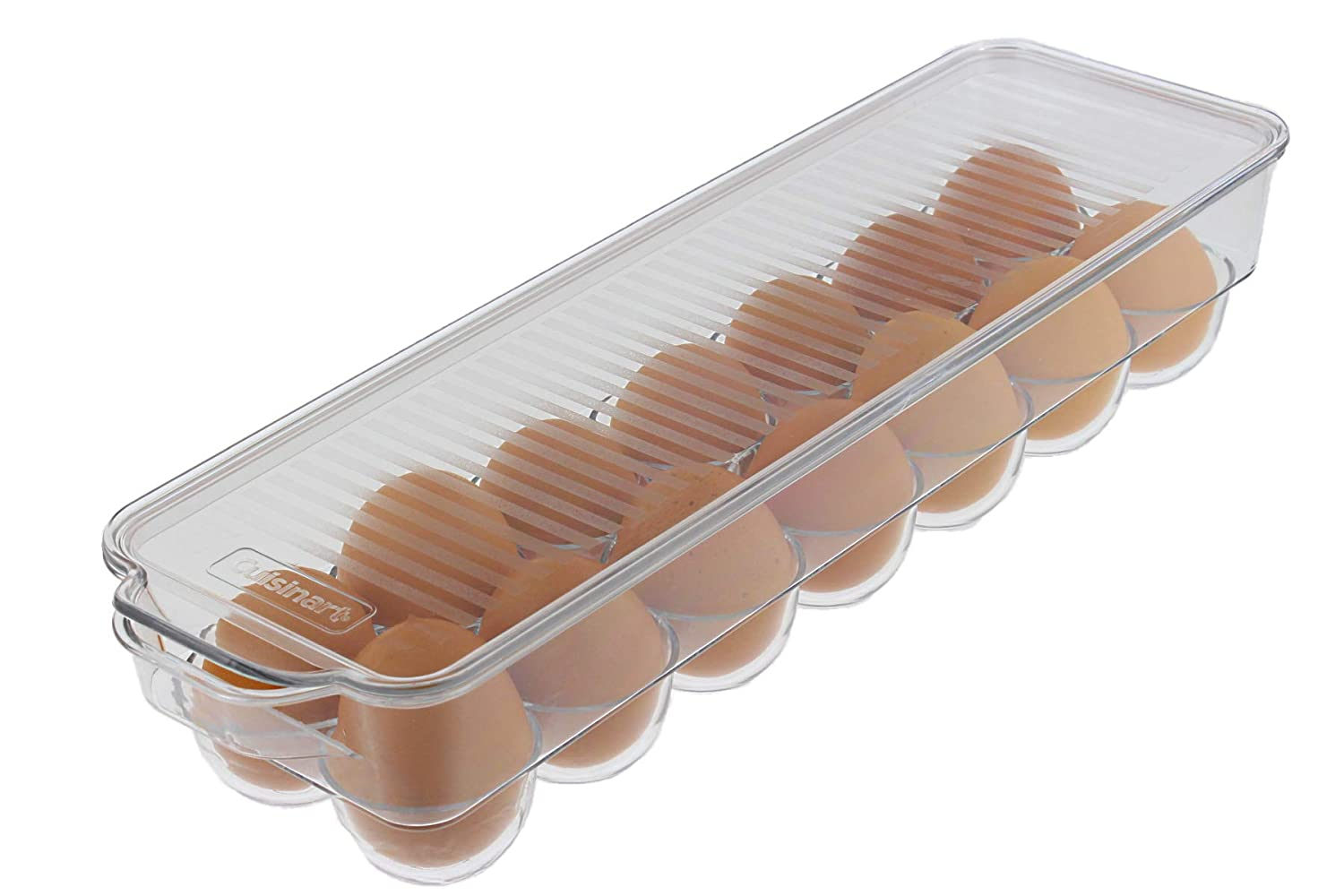 Cuisinart Egg Holder with Lid and Handle, Holds 14 Eggs – This Egg Container is a Must-Have Space Saver for Your Refrigerator – See-Through, Stackable, BPA Free – Measures 14.5 x 4.5 x 3
