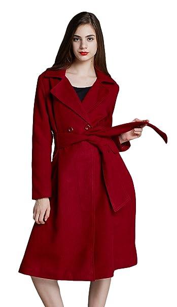 Biwinky Abrigo de Invierno Doble Botonadura Escote V Para Mujer Rojo Asia M Busto 92cm: Amazon.es: Ropa y accesorios