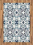 Ethnic Area Rug by Ambesonne, Medieval Persian Palace Flower Leaf Shapes Arabian Inspired Motifs Artwork Print, Flat Woven Accent Rug for Living Room Bedroom Dining Room, 4 x 6 FT, Pale Blue
