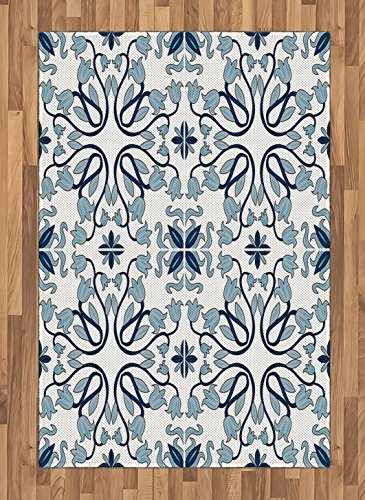 Ethnic Area Rug by Ambesonne, Medieval Persian Palace Flower Leaf Shapes Arabian Inspired Motifs Artwork Print, Flat Woven Accent Rug for Living Room Bedroom Dining Room, 4 x 6 FT, Pale Blue by Ambesonne