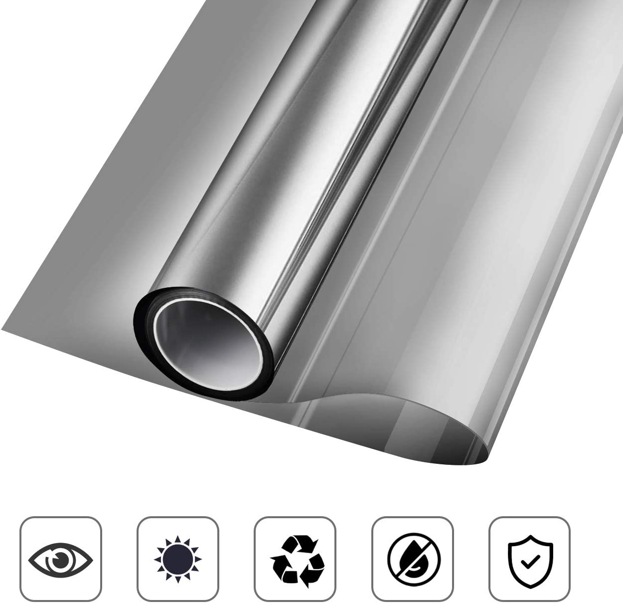 KESPEN One Way Window Film Privacy Anti-UV Heat Control Reflective Glass Tint for Home Static Cling Vinyl, Black-Silver, 35.4 Inch X 32.8 Feet