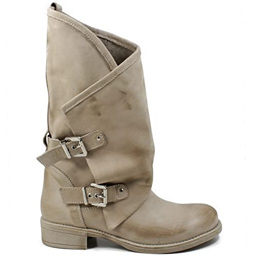 reputable site b1efe ff4b5 In Time Stivali Biker Boots Estivi Morbidi Leggeri Primaverili Donna 0351  Beige in Vera Pelle Nabuk Made in Italy Taglia 35