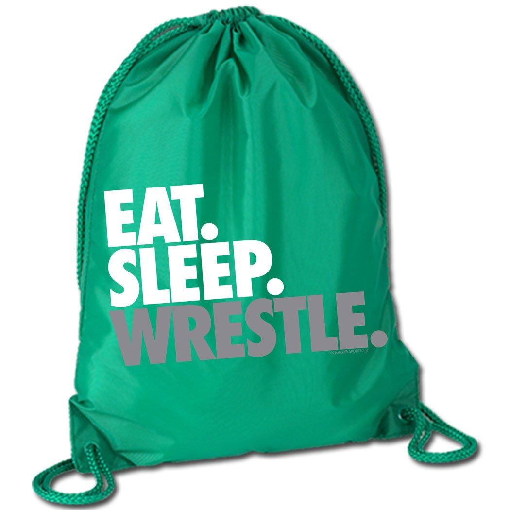 ChalkTalkSPORTS Eat Sleep Wrestle (Stack) Cinch Sack | Wrestling Bags by Multiple Colors ChalkTalk SPORTS wr-00116-BLACK