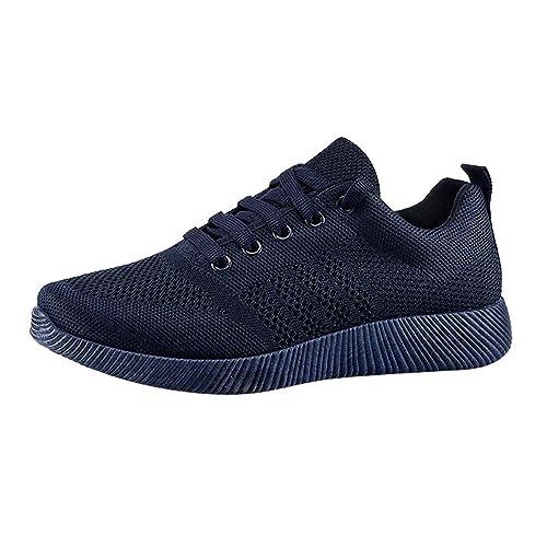 Zapatillas de Running para Mujer,Mujeres Volando Tejido Casual Zapatos Caramelo Color Estudiante Zapatillas Zapatillas Respirable Deportes para Mujer ...
