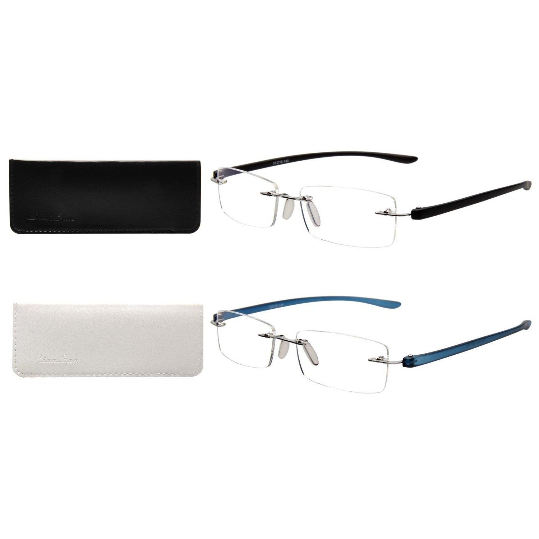 745778dc006 Amazon.com  LianSan Designer 2 Pack Rimless Reading Glasses Men Women  Rectangle Fashion Portable Readers 1.0 1.5 2.0 2.5 3.0 3.5 4.0 5017