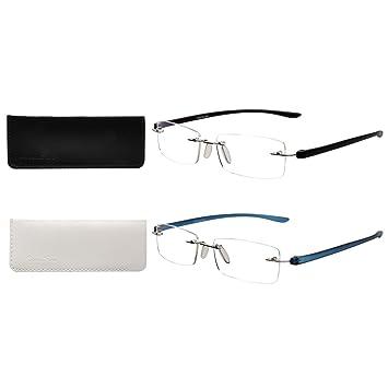 8feefa5a1e2a LianSan Designer 2 Pack Rimless Reading Glasses Men Women Rectangle Fashion  Portable Readers 1.0 1.5 2.0