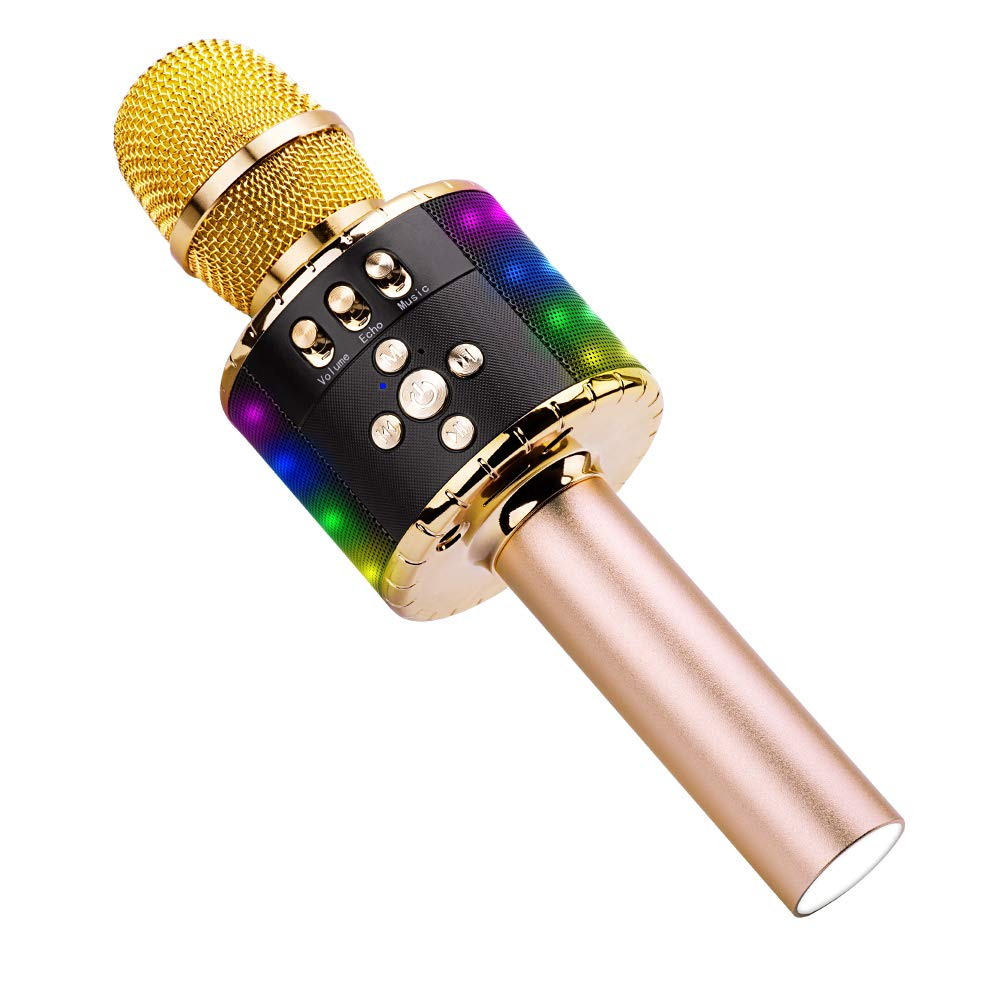 Ankuka kabellose Karaoke-Mikrofon-Lautsprecher, 4-in-1-Handheld-tragbarer Bluetooth-KTV-Player, hervorragende Audioqualitä t fü r Gesang und Aufnahme, kompatibel mit Android und iOS Q78 Rose Gold
