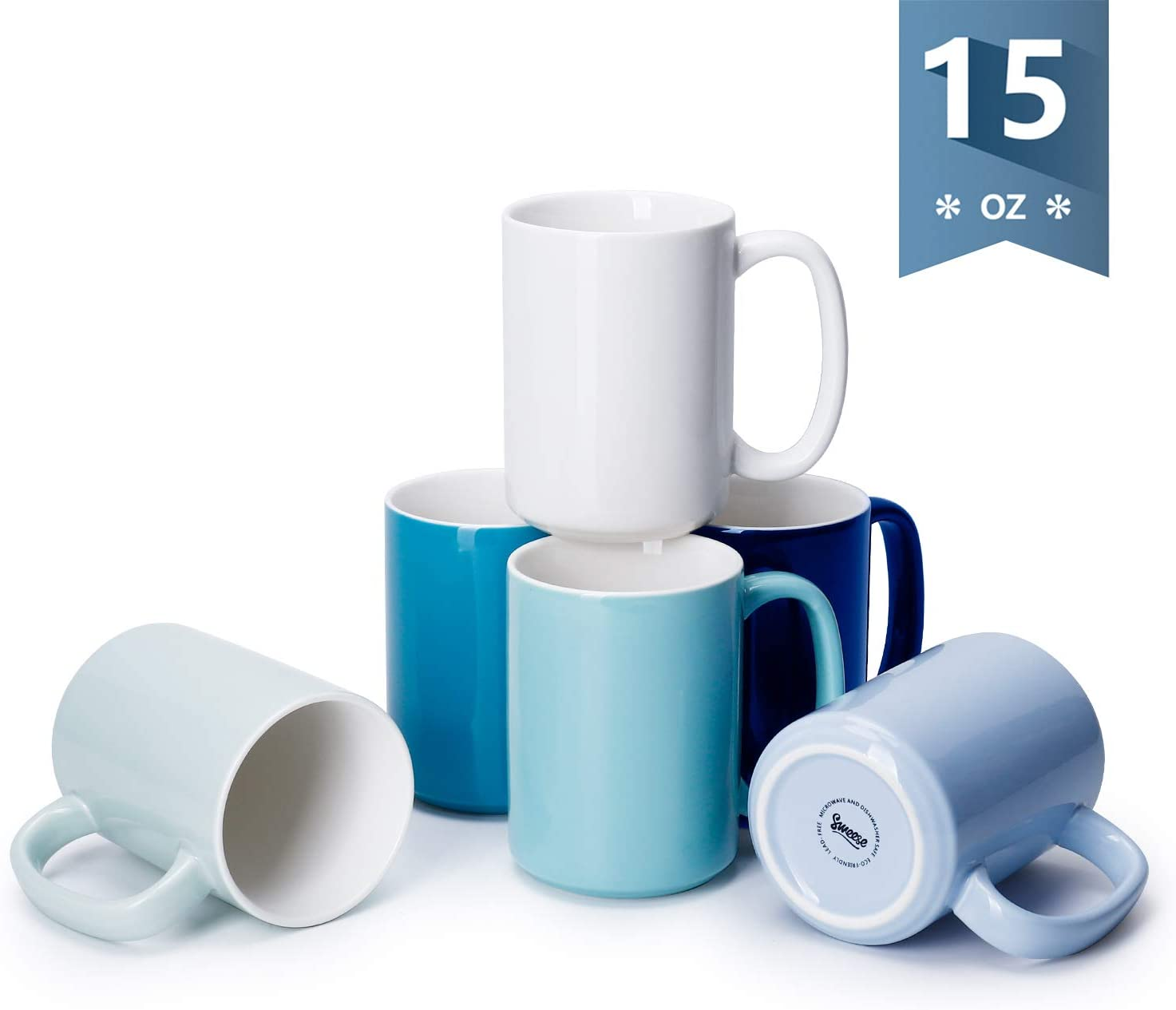 Sweese 608.003 Porcelain Mugs Set, 15 Ounce Large Handle Mugs, Set of 6, Cool Assorted colors