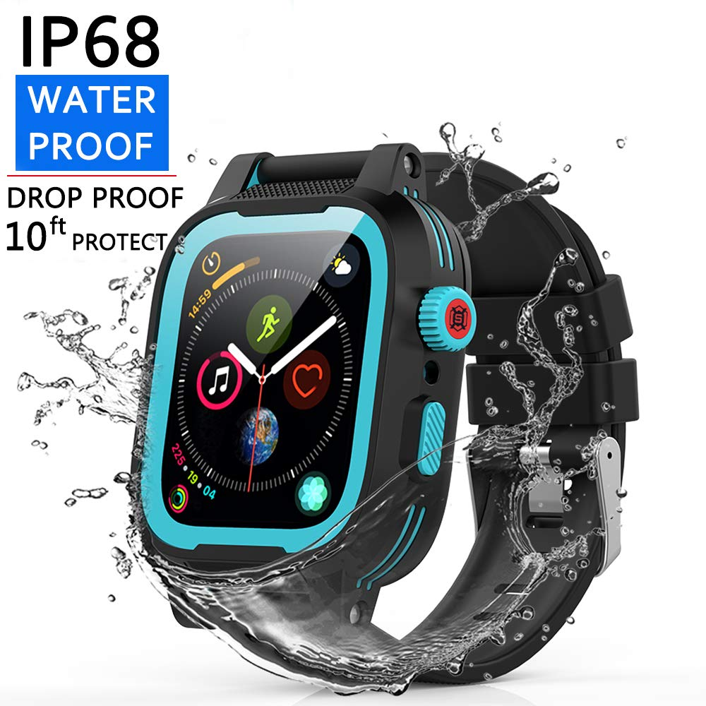 [Waterproof Case for 42mm] YOGRE IP68 Waterproof Watch Case, Full Sealed waterproof iWatch Case with Resilient Shock Absorption for 42mm iWatch Series 3 and 2, Package with 2 Soft Silicone Watch Band by Shellbox