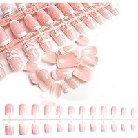 240pcs French Nails 12 Sizes Natural Oval Acrylic False Nails Fake Nails Salon Acrylic French Nail Kit DIY Nail Art Pink