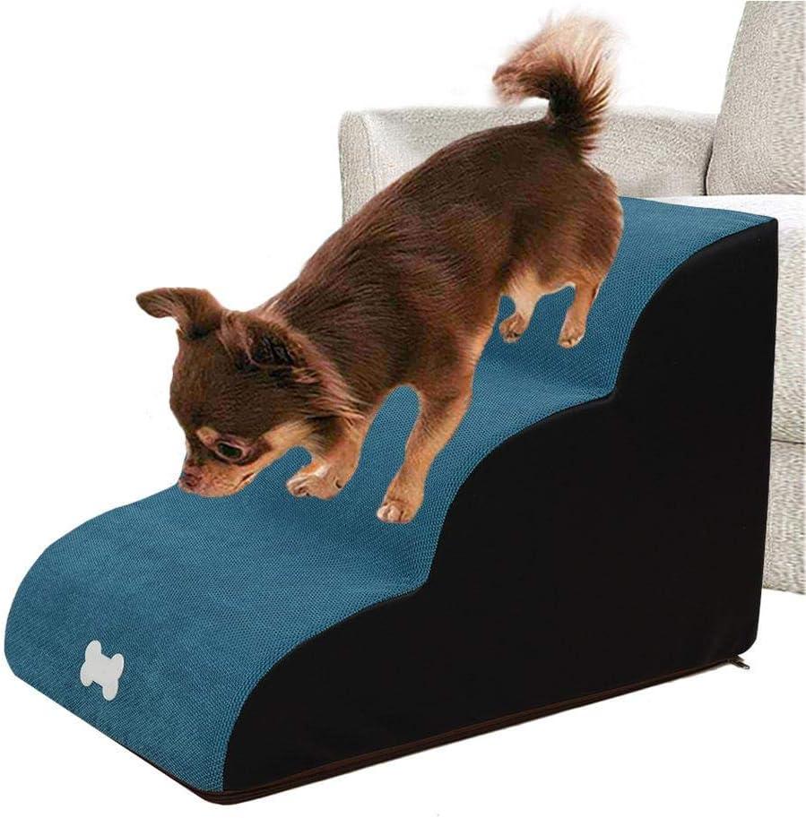 hasta 55 Libras rampa port/átil para Mascotas//Escalera para Mascotas Ksruee Escaleras para Mascotas f/áciles de 3 Pasos 60x40x40cm Esponja de Alta Densidad Pasos para Mascotas de 3 Niveles
