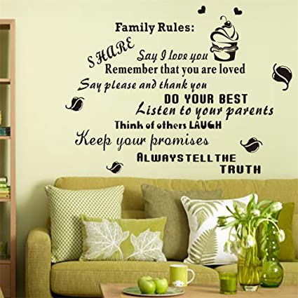 Amazon.com: Wall Décor Stickers Family Rules Stickers Wall Art Decal ...