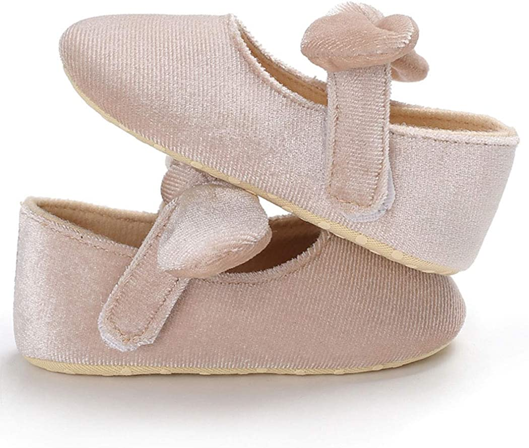 BABITINA Baby Girl Shoes Mary Jane Flats with Bowknot Non-Slip Toddler First Walkers Newborn Dress Shoes