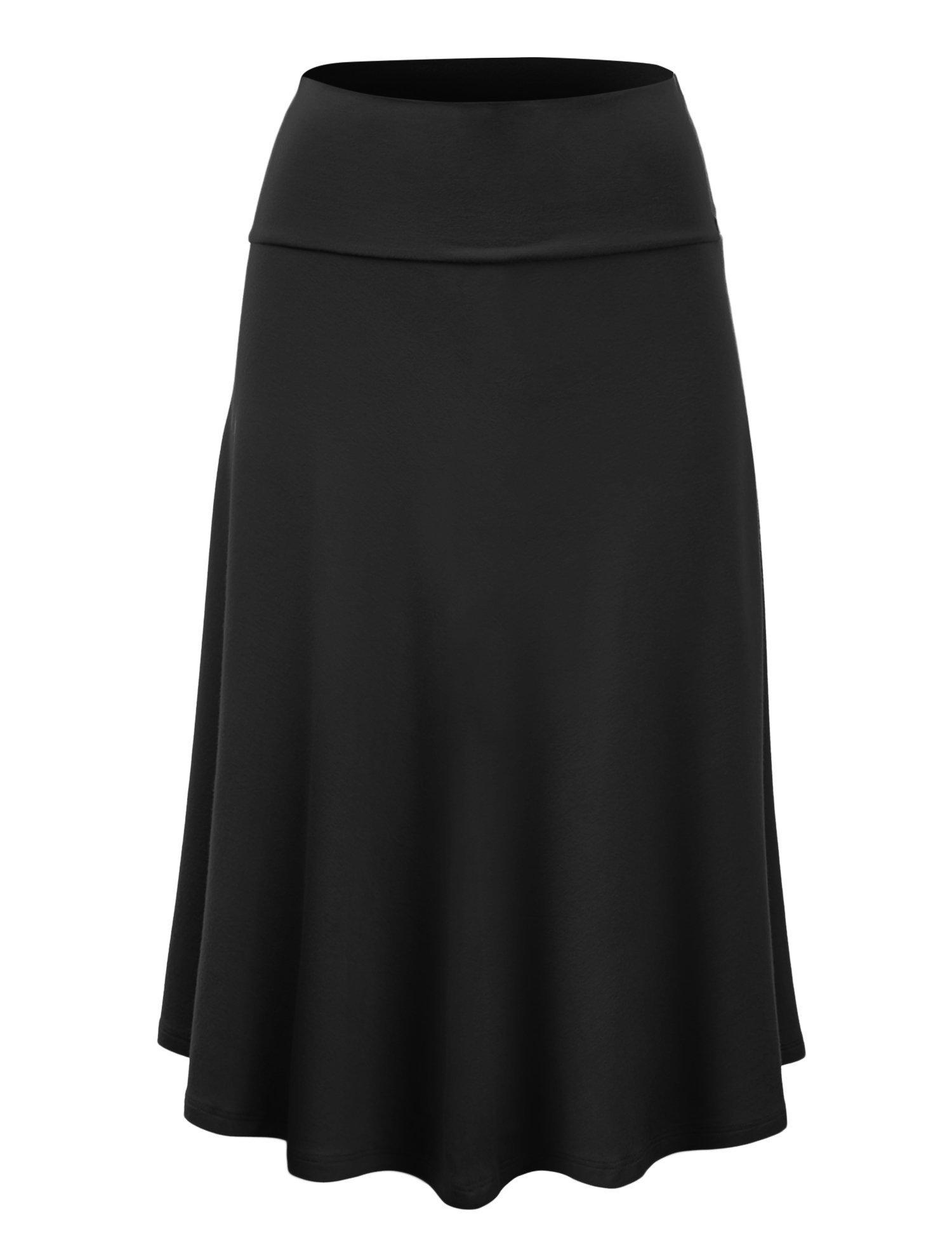 Lock and Love WB1105 Womens Lightweight Fold Over Flared Midi Skirt S Black