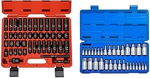 "Neiko 02440A 3/8"" Drive Impact Socket Set & 10288A Master Hex Bit Socket Set, 32 Piece | S2 Steel Machined Bits | Standard SAE and Metric Sized Sockets | 1/4"", 3/8"", & 1/2"" Drives"