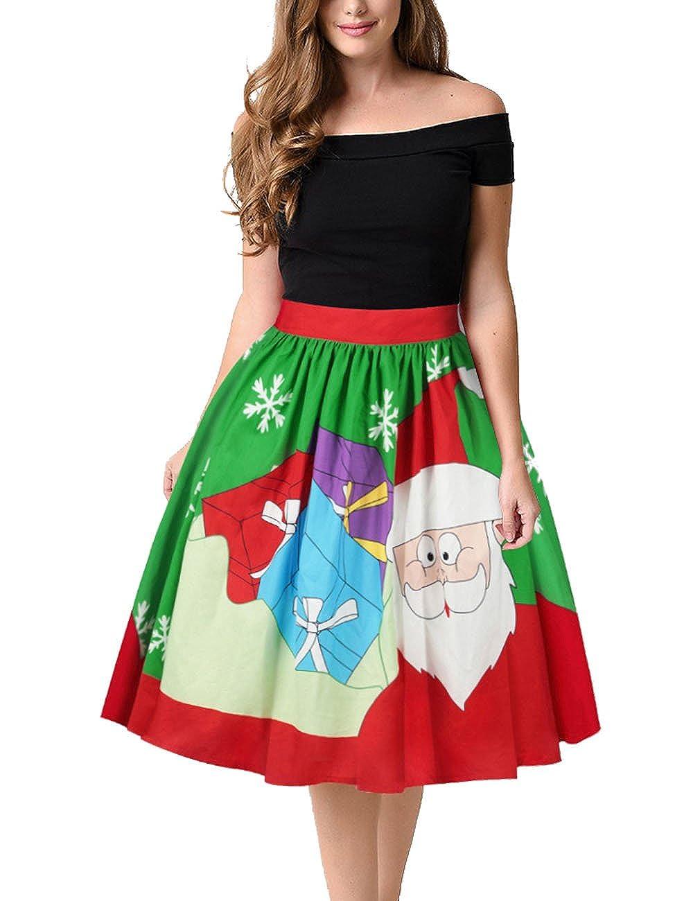 Walant Damen Weihnachtskleid A-linie Röcke Kurz Festliches Kleid ...