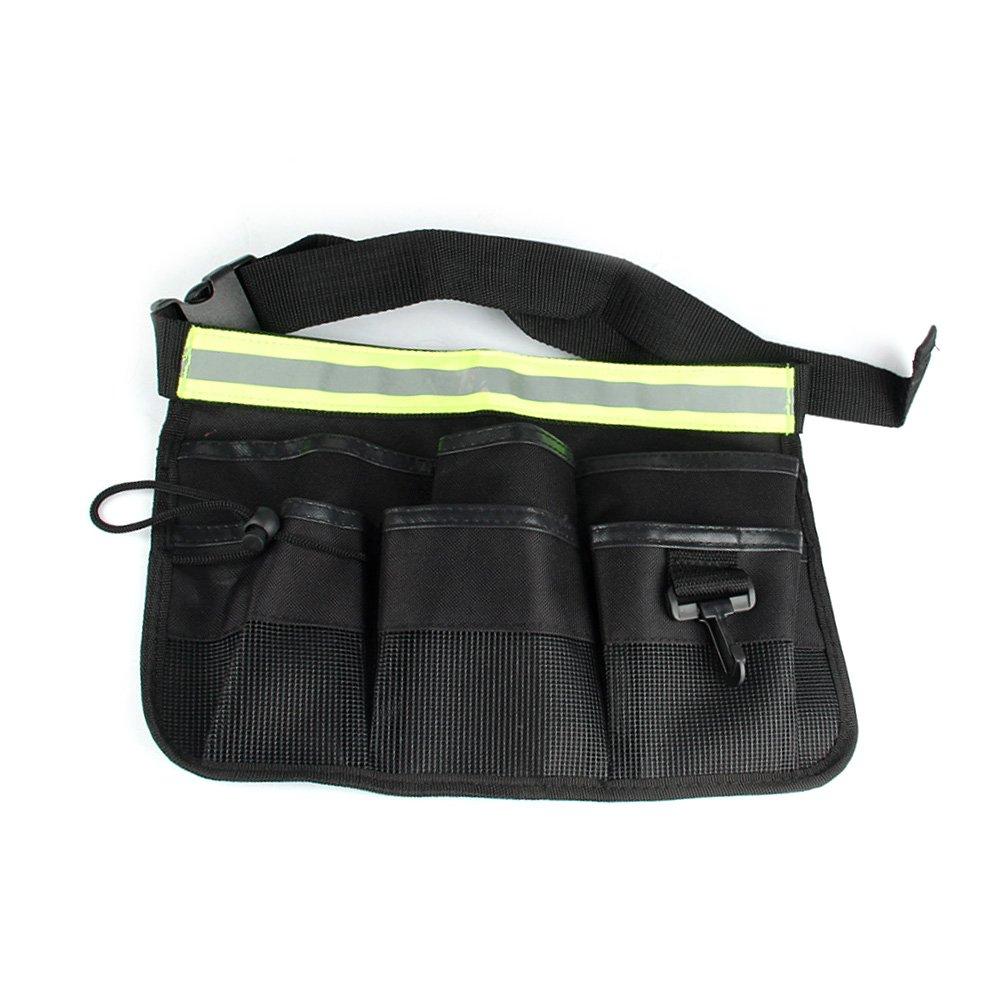 Silfrae Reflect Waterproof 600D Canvas Tool Belt Single Side Apron Waist Tool Apron Tools Belt Bag Hanging Pouch Waist Bag with 4-POCKET/7-POCKET Green, Black (L, Black)
