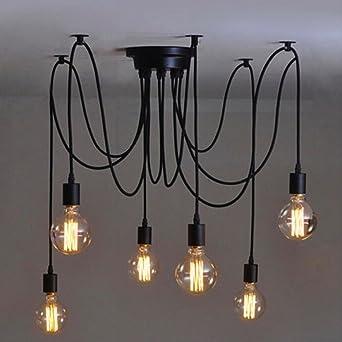 Maxsal Vintage Pendant Light E27 Chandelier Ceiling Lights Style Retro Industrial Lighting Ceiling Fan 6 Lumieres Amazon De Beleuchtung