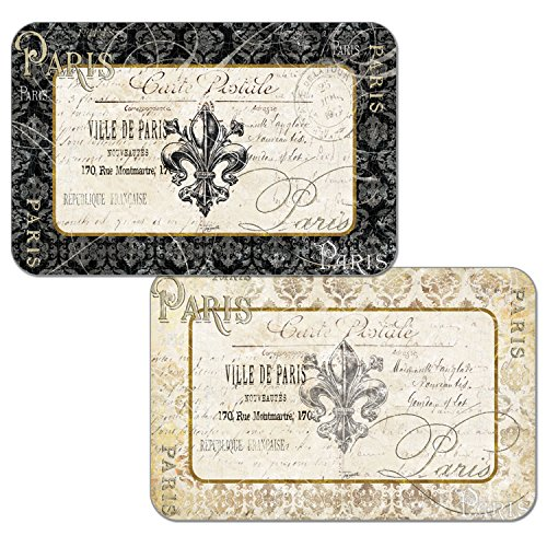 (Counterart Set of 4 Reversible Decofoam Placemats, Fleur de Lis Damask)