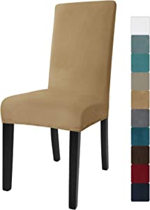 JIVINER Velvet Dining Chair Slipcover High Stretch Chair Covers for Dining Room Set of 6 Parsons Chair Furniture Protector for Hotel, Party, Restaurant (6, Camel)