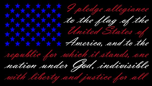 Pledge of Allegiance Thin Blue Line American Flag Car window decal