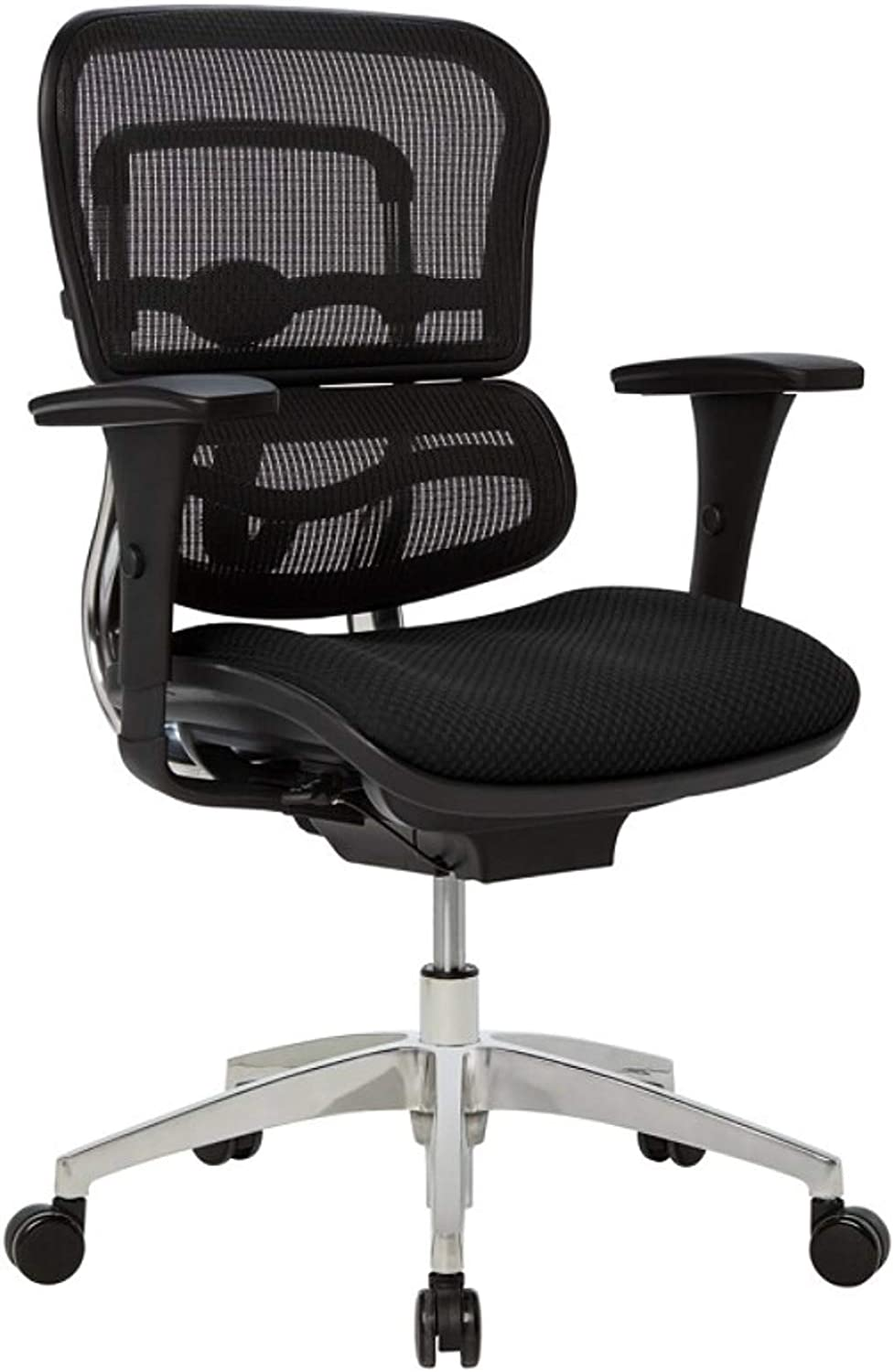 WorkPro 12000 Series Ergonomic Mesh/Fabric Mid-Back Manager's Chair, Black/Chrome