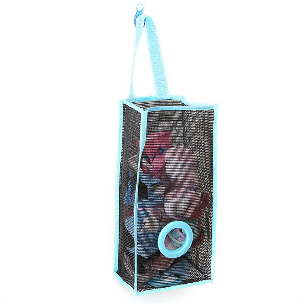 Bolsa de almacenamiento para colgar en la compra, contenedor de bolsas de almacenamiento, cesta natural, dispensador de pared de malla para alimentos: ...