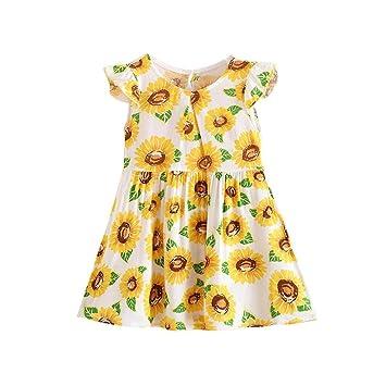 Para 3 - 7 años de edad, Turquía girasol impresión vestido, para niña bebé