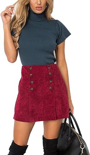 Falda De Mujer Moda Botones De Pana Línea A Faldas Cálidas: Amazon ...