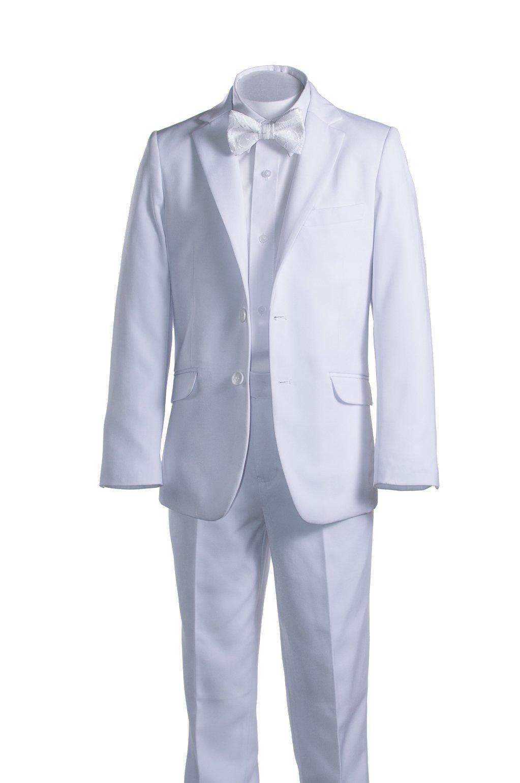 Boys White Slim Fit Communion Suit Suspenders & Clergy Bow Tie (16 Boys)