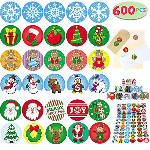 Joyin Toy 600 Pieces Assorted Christmas Sticker Rolls; Christmas Scrapbook Stickers Self Adhesive Shapes for Christmas Craft Supplies, Party Favors, Stocking Stuffers, School Classroom Prizes.