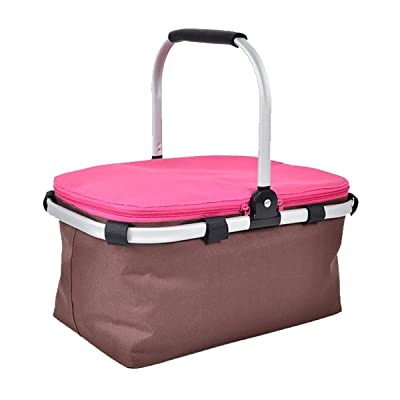 Deacroy Insulated Picnic Basket,Collapsible Cooler Bag with Aluminium Handle,15L Family Size Lining Design for Outdoor Travel Camping or Vacations: Sports & Outdoors