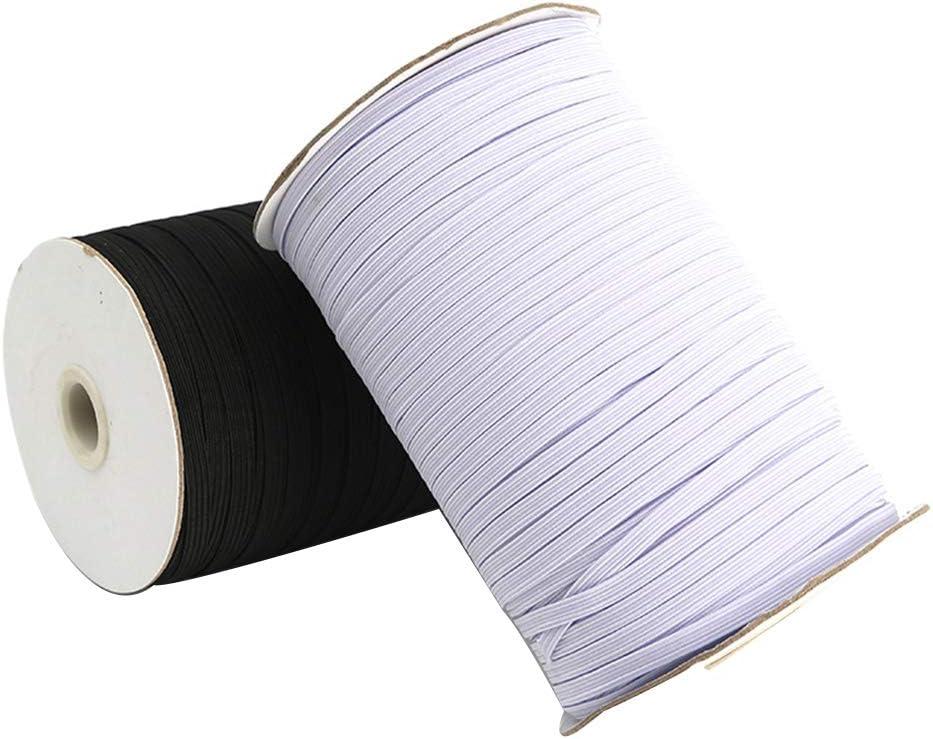 manualidades y hechas a mano Wide 3mm blanco Cuerda el/ástica trenzada de cuerda el/ástica KNMY costura carrete el/ástico para manualidades 200 yardas de costura costura manualidades