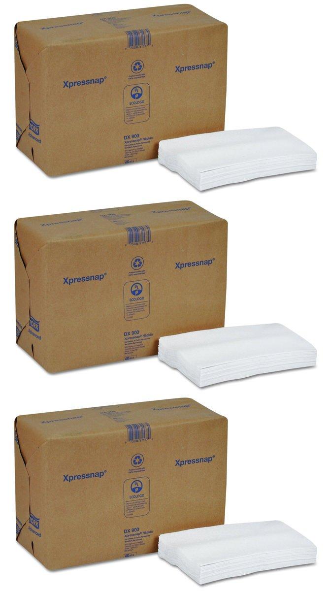 Tork DX900 Xpressnap Interfold Dispenser Napkins, 1-Ply, Bag-Pack, 13x8 1/2,White (3 Case of 6,000)