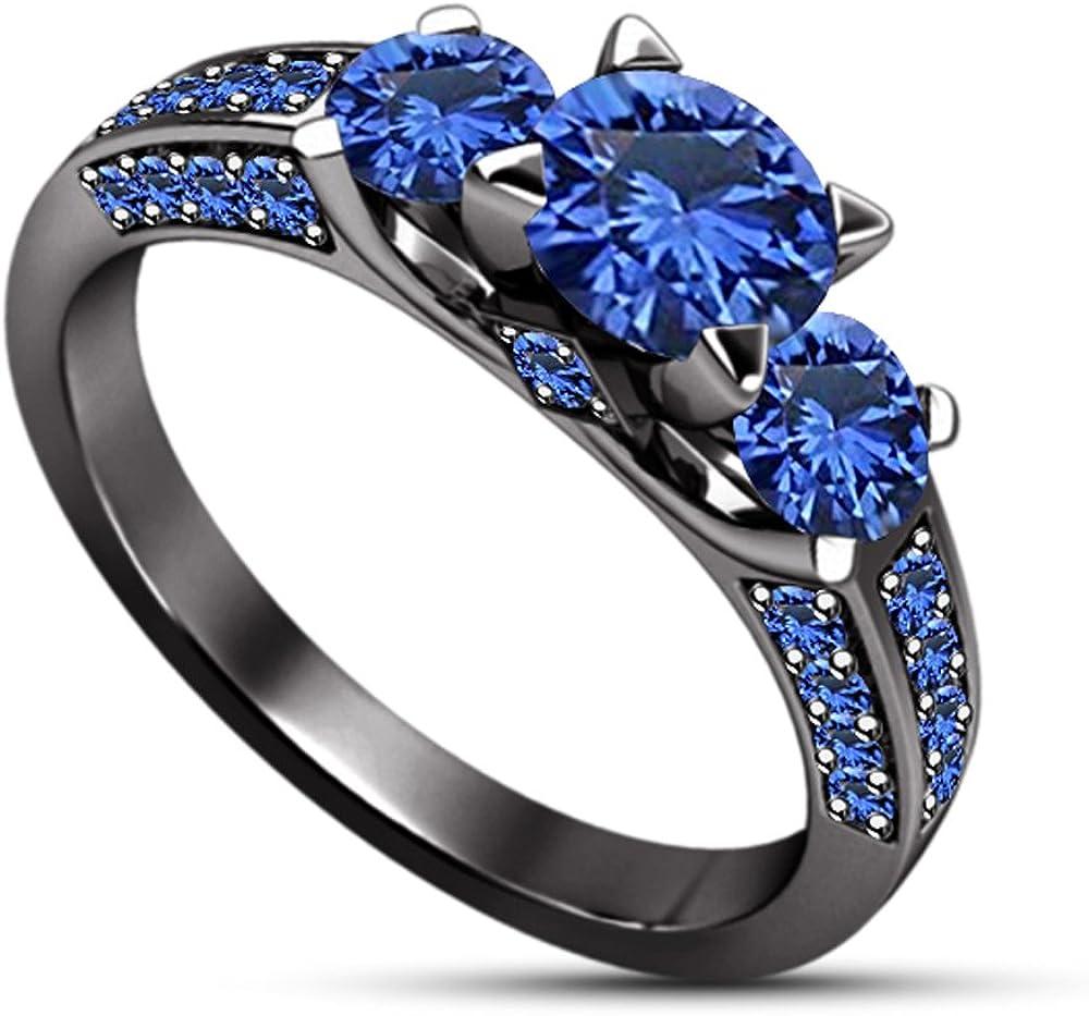 Moda Vorra Azul Zafiro Tres Piedra Halo Anillo de Compromiso Sello 925Plateado Negro Chapado en rodio